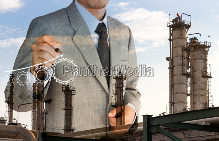double exposure strategy business man drawing