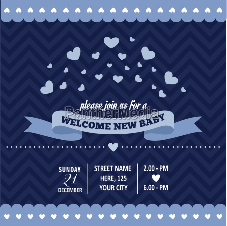 baby shower invitation with hearts in
