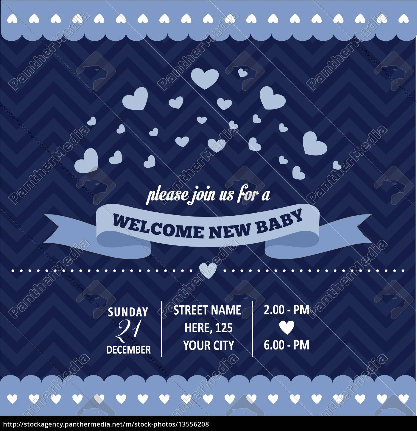 baby, shower, invitation, with, hearts, in - 13556208