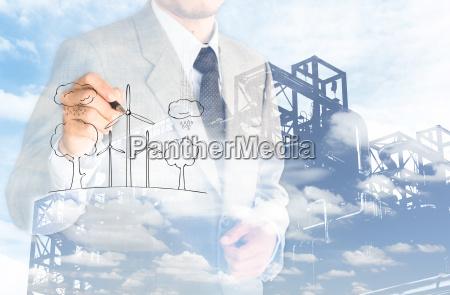 double, eposure, business, man, evironment, conserve - 13558534