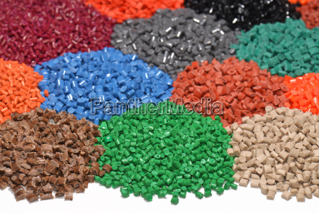 dyed plastic polymer granules
