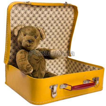 antique teddy bear sitting in a