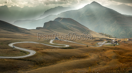serpentine road at passo giau dolomites