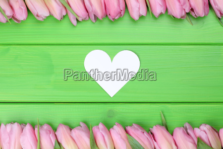 frame from tulips flowers with heart
