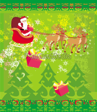 santa claus and reindeer abstract