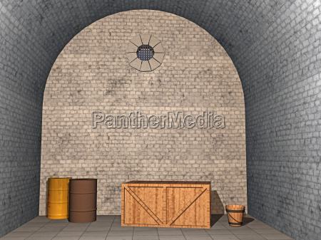 old cellar with boxes and barrels