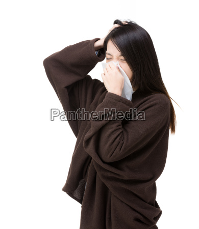 asia woman sneeze and headache