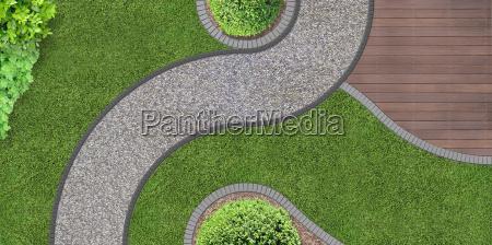 path through the garden from above