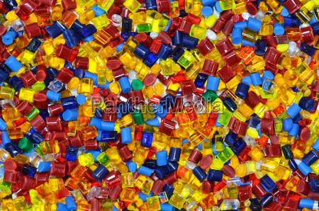 differently colored plastic plastic granules