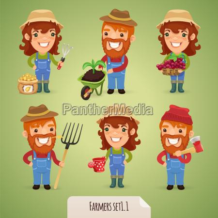 farmers cartoon characters set11