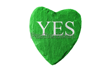 green heart with yes lettering