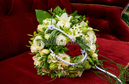 bridal bouquet on seat