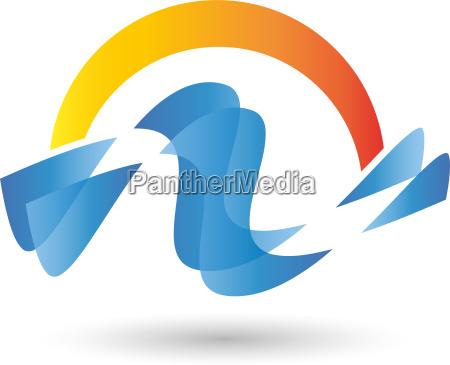logo waves water sun