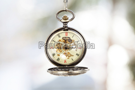 close up on vintage pocket watch