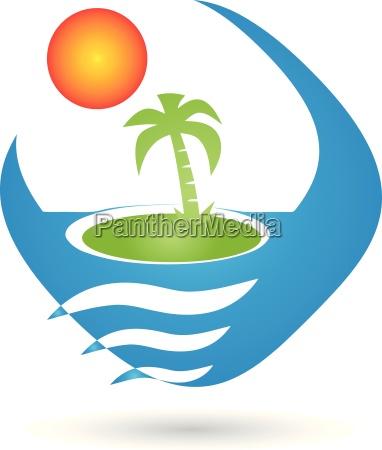 logo tropical island island