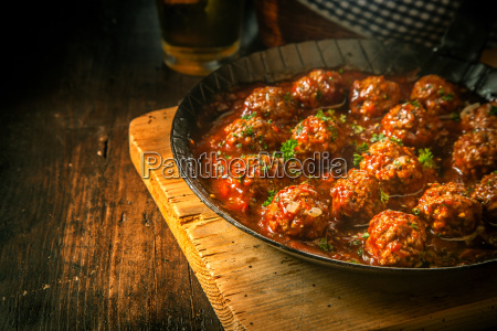 savory beef mince meatballs in a