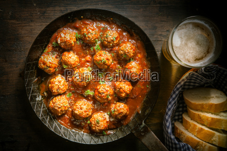 rustic wholesome lunch of meatballs and