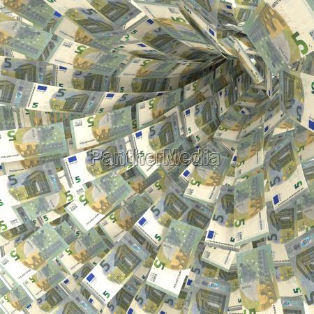 money vortex of 5 euro notes