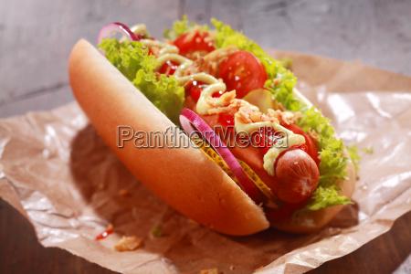 tasty homemade hot dog served on