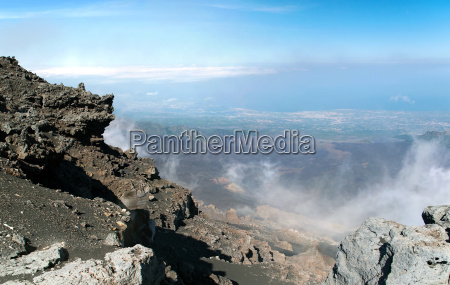 panoramic view from mount etna with