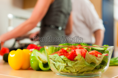preparation of vegetables and salad