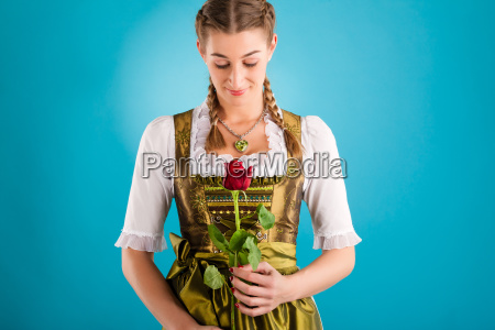 young woman in traditional dirndl dress