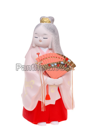 traditional japanese hakata doll isolated on