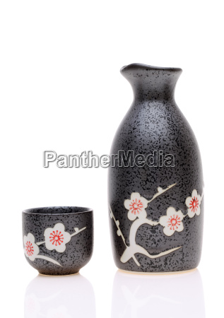 japanese sake cup and bottle on