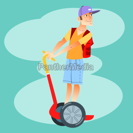 young tourist on electric scooter