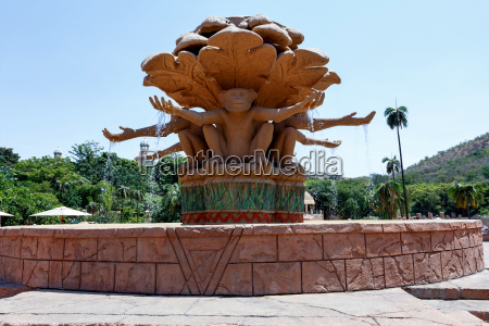 gigantic monkey statues on fountain in