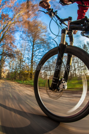 bicycle riding in a city park