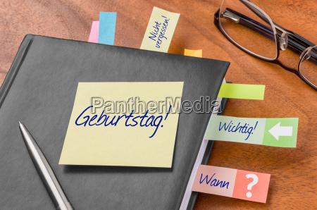calendar with sticky note birthday