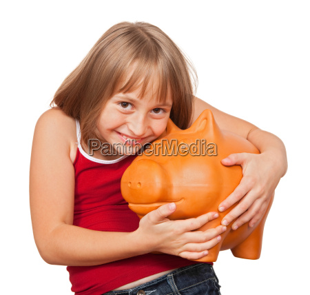girl loving her piggy bank