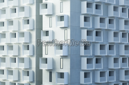 modern apartment building with balconies
