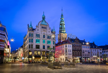 amagertorv square and stork fountain in