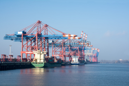 cargo port of hamburg on the