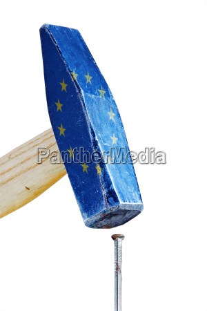 hammer with flag of the european