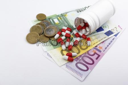 pills and money euros eur medecine