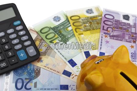 piggy bank and euros eur