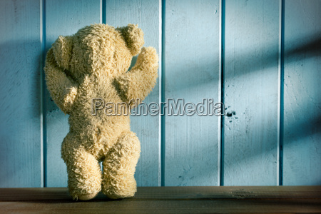 teddy bear stands in front of