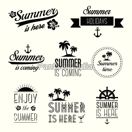 set of summer holidays typography labels