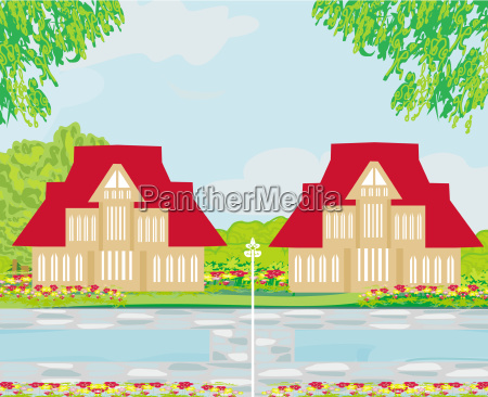 houses with swimming pool illustration