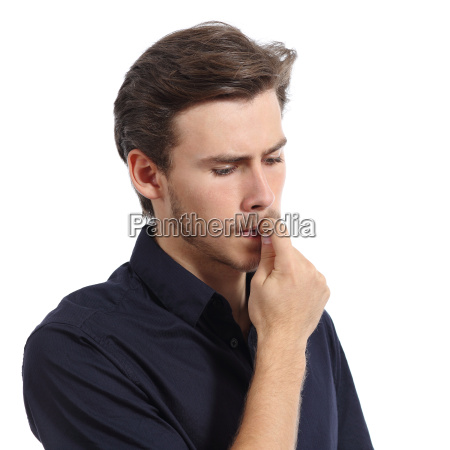 young man stressed or worried biting