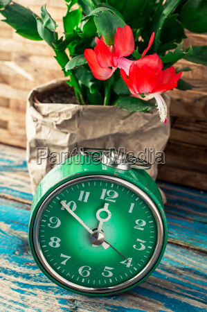 symbol of spring green clock and