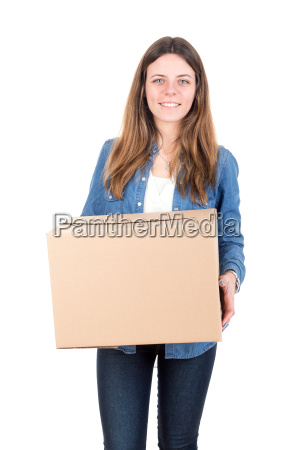 girl, with, box - 13647994