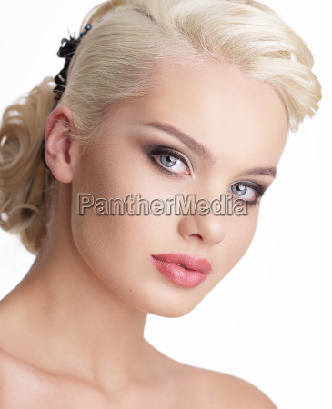 close up portrait of charming blond
