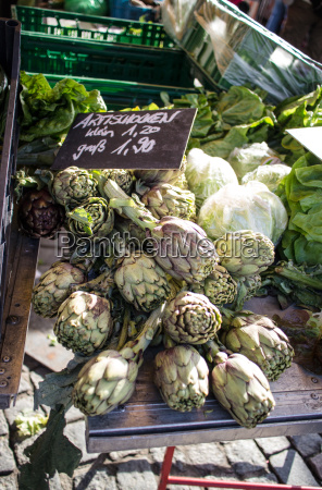fresh artichokes at the weekly market