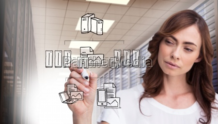 composite image of concentrated businesswoman