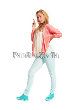 young woman with pink sweater