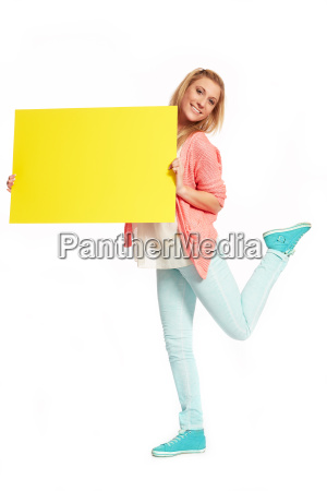 young funky woman with yellow signboard